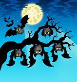 Cartoon Bats With Full Moon