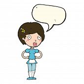 image of maids  - cartoon woman in french maid outfit with speech bubble - JPG
