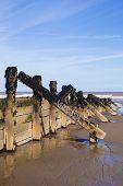 foto of breaker  - Wooden wave breakers on beach at seaside resort environmental preservation issues - JPG