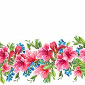 pic of jungle flowers  - Exotic Floral Seamless Watercolor Border with Blue berries - JPG