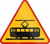 picture of railroad car  - A Polish warning sign  - JPG