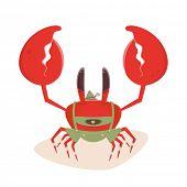 stock photo of lederhosen  - funny cartoon crab in bavarian lederhosen - JPG