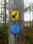 image of swamps  - Some signs before entering a duckboard in a swamp - JPG