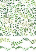 image of wallpaper  - Set of watercolor Handsketched  green  seamless pattern border set - JPG