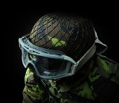 stock photo of soldier  - airsoft soldier view from above on the upper body camouflage pattern 95 from the Czech Republic - JPG