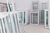 stock photo of manufacturing  - PVC windows and doors manufacturing window frame profile production equipment - JPG