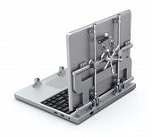 picture of vault  - Metallic vault laptop on white background  - JPG