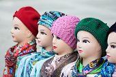 picture of headdress  - the digital photo female dummies of the heads for of headdresses woolen knitted caps and silk scarves
