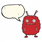 foto of alien  - cartoon funny alien monster with speech bubble - JPG