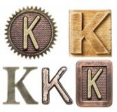 picture of letter k  - Alphabet made of wood and metal - JPG