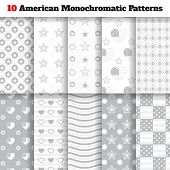 picture of monochromatic  - Set of ten monochromatic American seamless patterns with stars strips flags and hearts - JPG