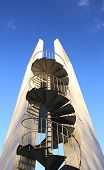 pic of spiral staircase  - Lookout tower with spiral staircase seen from below - JPG