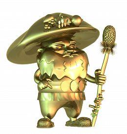 pic of gnome  - Golden fairy gnome mushroom - JPG