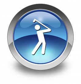 stock photo of foursome  - Image Illustration Icon Button Pictogram with Golfing symbol - JPG