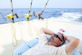 Sailor Senior Fisherman Relax On Boat Fishing Sea