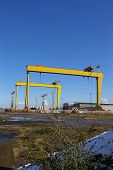 stock photo of samson  - the giant cranes at belfast shipyard called samson and goliath - JPG