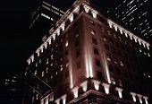 Stock Photo Of Manhattan Buildings At Night, B&W/Tint