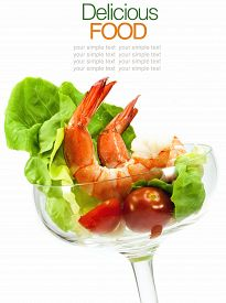 stock photo of cocktail menu  - Shrimp Cocktail Isolated on a White Background - JPG
