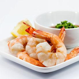 pic of cocktail menu  - Shrimp Cocktail Isolated on a White Background - JPG