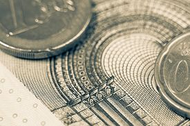 stock photo of monochromatic  - Euro notes and coins macro vintage monochromatic photography - JPG