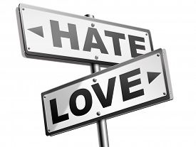 stock photo of hate  - love hate emotions and connections intense feelings of affection like or dislike  - JPG