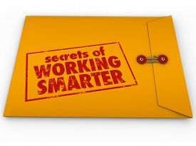 image of productivity  - Secrets of Working Smarter how to advice in yellow classified or confidential envelope for learning productivity or efficiency life hack tips or workflow process systems - JPG
