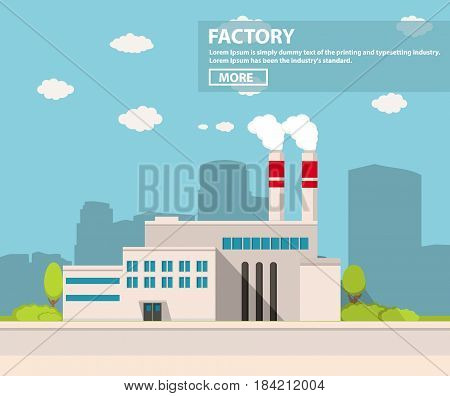industrial factory in flat style a vector an illustration