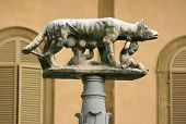 Statue of romulus and remus being nursed by a she-wolf - these two boys are said to be the joint fou
