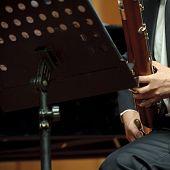 bassoonist on concert