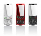 Vector photorealistic illustrations of a color cellphones-slider, open