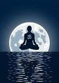 Vector yoga with ohm symbol over moon background