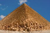 stock photo of burial-vault  - Great pyramids of Giza with blue sky on background - JPG