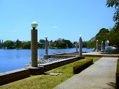 Lamps And Lake Next To The La Venta Park