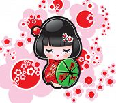 Vector illustration of the Japanese doll
