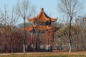 Small gazebo in public park in Jilin China