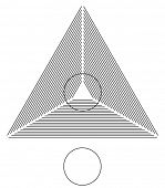 Optical illusion. Round circle on the lines triangle is identical as the one below. Vector illustrat