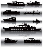 Nine different ship silhouettes situated on water surface with shadow. Vector illustration.