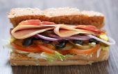Постер, плакат: Fresh Sandwich In Fast Food Restaurant Menu