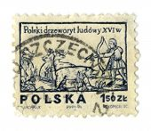 POLAND - CIRCA 1974: A stamp printed in BULGARIA shows image of the Polish Woodcut, circa 1974.