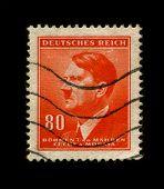 GERMANY - CIRCA 1942:  Used Postage Stamp showing Portrait of Adolf Hitler circa 1942.
