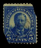 USA - CIRCA 1930: A stamp printed in USA shows Portrait President Theodore