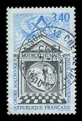FRANCE-CIRCA 1993:A stamp of the dedicated to The International Order of Co-Freemasonry Le Droit Hum