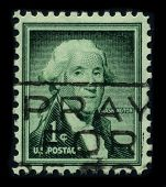 USA - CIRCA 1932: A stamp printed in USA shows image portrait George Washington, was the first president of the United States, circa 1932.
