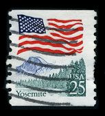 USA - CIRCA 1980: A stamp dedicated to the Yosemite National Park is a United States National Park i