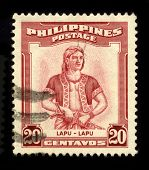 PHILIPPINES - CIRCA 1970: A stamp dedicated to the Lapu-Lapu (1491-1542) was the datu of Mactan, an island in the Visayas in the Philippines, circa 1970.