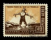 PERU - CIRCA 1969: A stamp dedicated to the Peruvian agrarian reform is the transformation of Peruvi