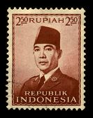 INDONESIA-CIRCA 1970:A stamp printed in INDONESIA shows image of the Sukarno, born Kusno Sosrodihardjo (6 June 1901 - 21 June 1970) was the first President of Indonesia, circa 1980.