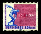 PERU - CIRCA 1968:A stamp printed in PERU A shows image of The 1968 Summer Olympics, officially known as the Games of the XIX Olympiad in Mexico City, circa 1968.