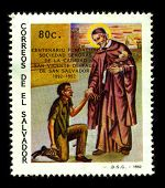 EL SALVADOR - CIRCA 1992:A stamp printed in EL SALVADOR shows image of the Saint Vincent de Paul(24