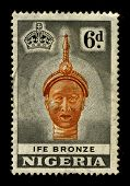 NIGERIA-CIRCA 1970:A stamp printed in NIGERIA shows image of the bronze mask, circa 1970.